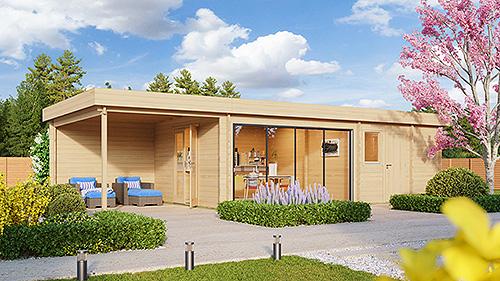 Ein Gartenhaus, das alles bietet, was das Herz begehrt: Wohnraum, Sauna, geschützte Terrasse und Geräteraum unter einem Dach. Foto: gartenhausfabrik.de