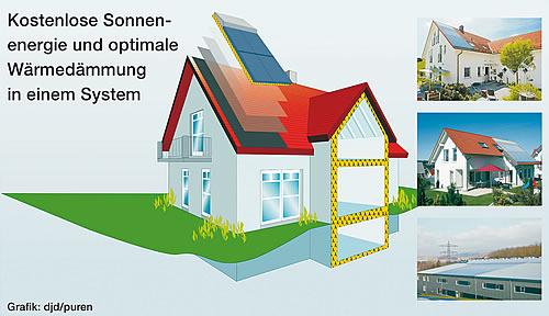 Macht die Dacheindeckung effizienter: Wärmedämmung und Solarthermie in einem System - Foto: djd/puren